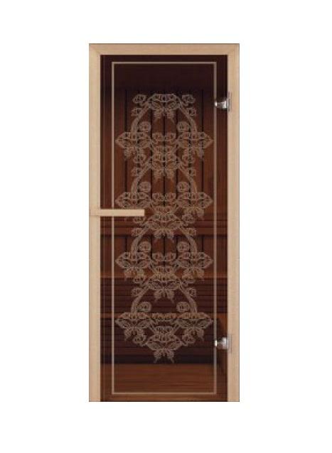 Дверь стеклянная для саун «Бабочка» бронза 690х1890мм