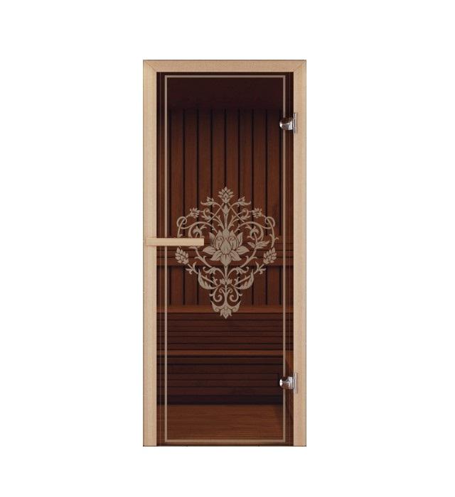 Дверь стеклянная для саун «Лотос» бронза 690х1890мм