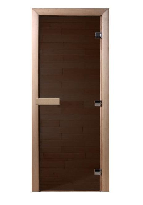 Дверь стеклянная для саун «Темная ночь» бронза мат.