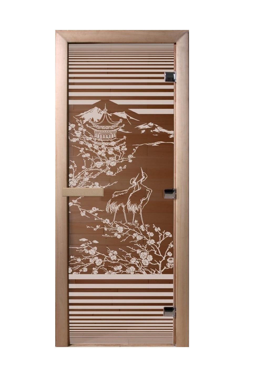 Дверь стеклянная для саун «Япония» бронза 700х1900мм