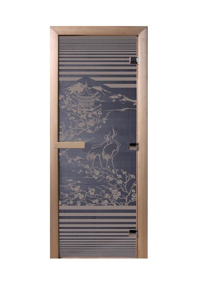 Дверь стеклянная для саун «Япония» синий жемчуг