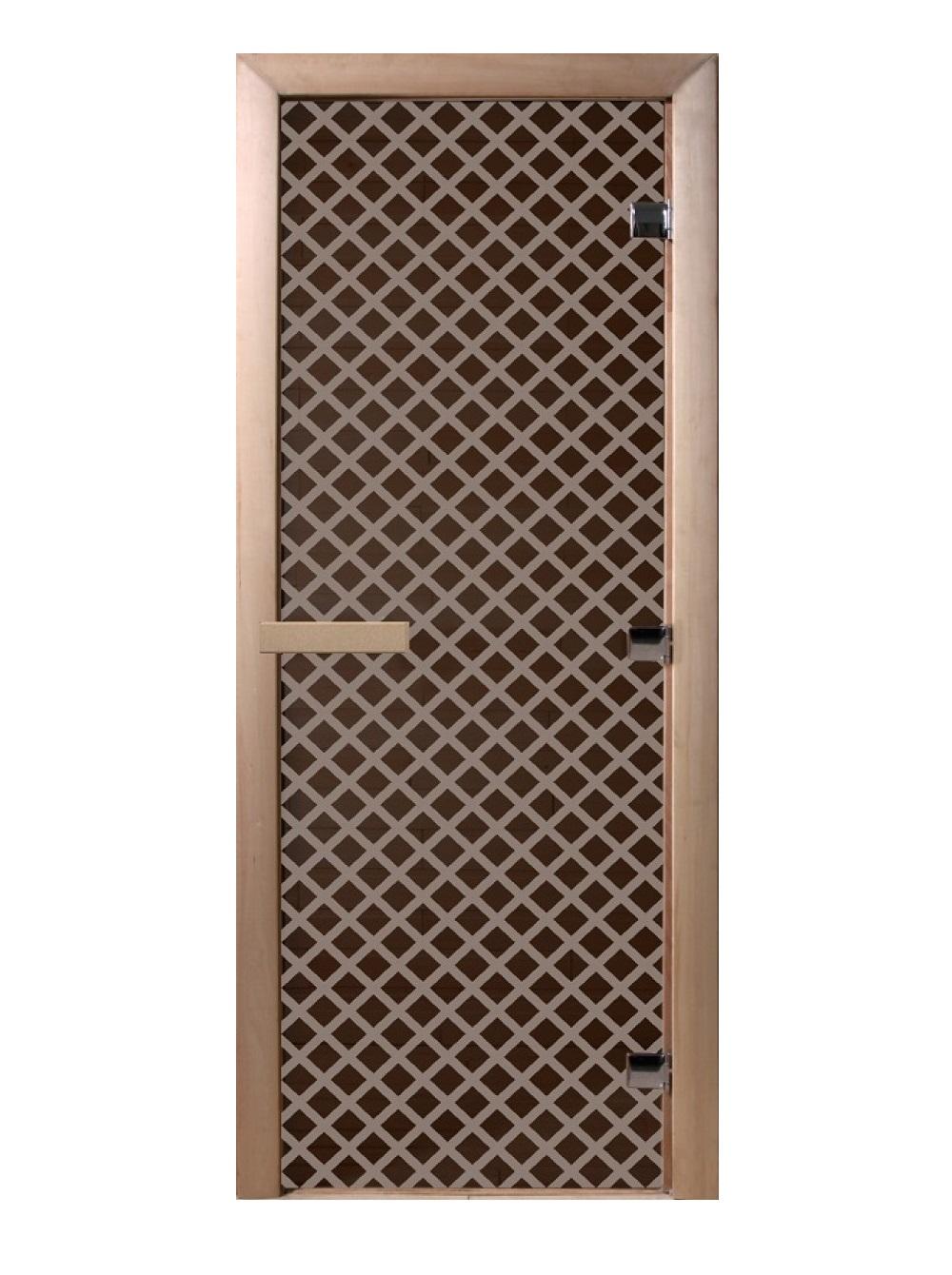 Дверь стеклянная для саун «Мираж» чер. жемчуг матовое