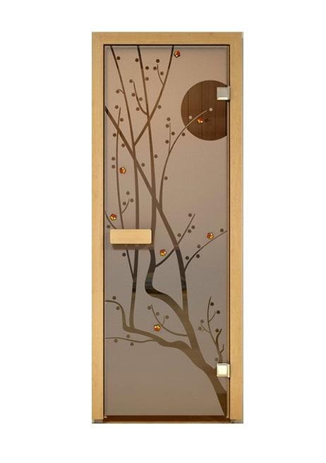 Дверь стеклянная для саун «Сакура» бронза 690х1890мм