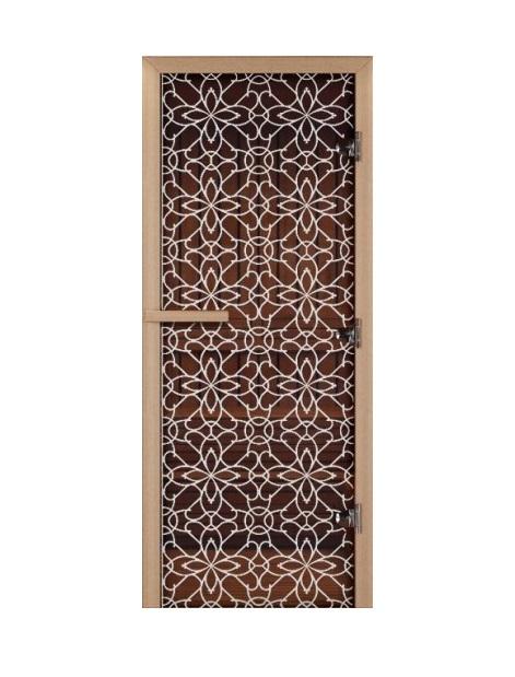Дверь стеклянная для саун «Тиффани» бронза