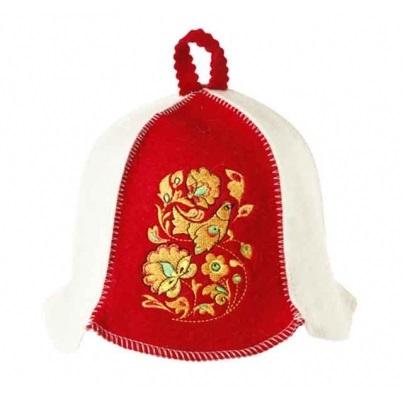 Шапка «Хохлома» бело-красная